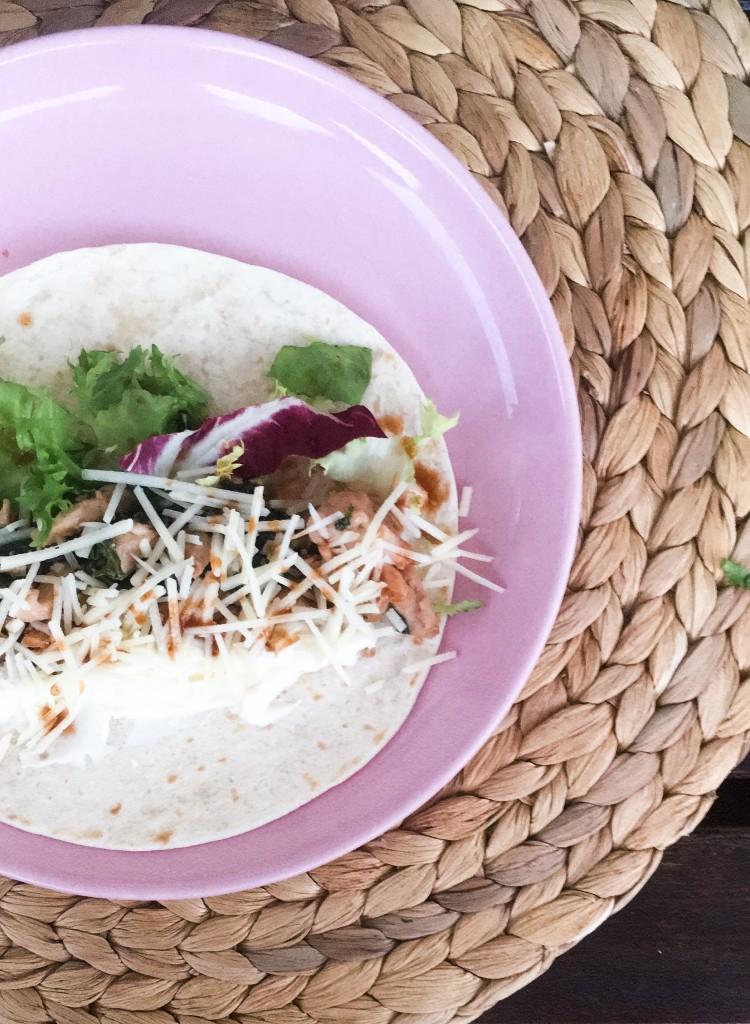 tacos de pollo y kale